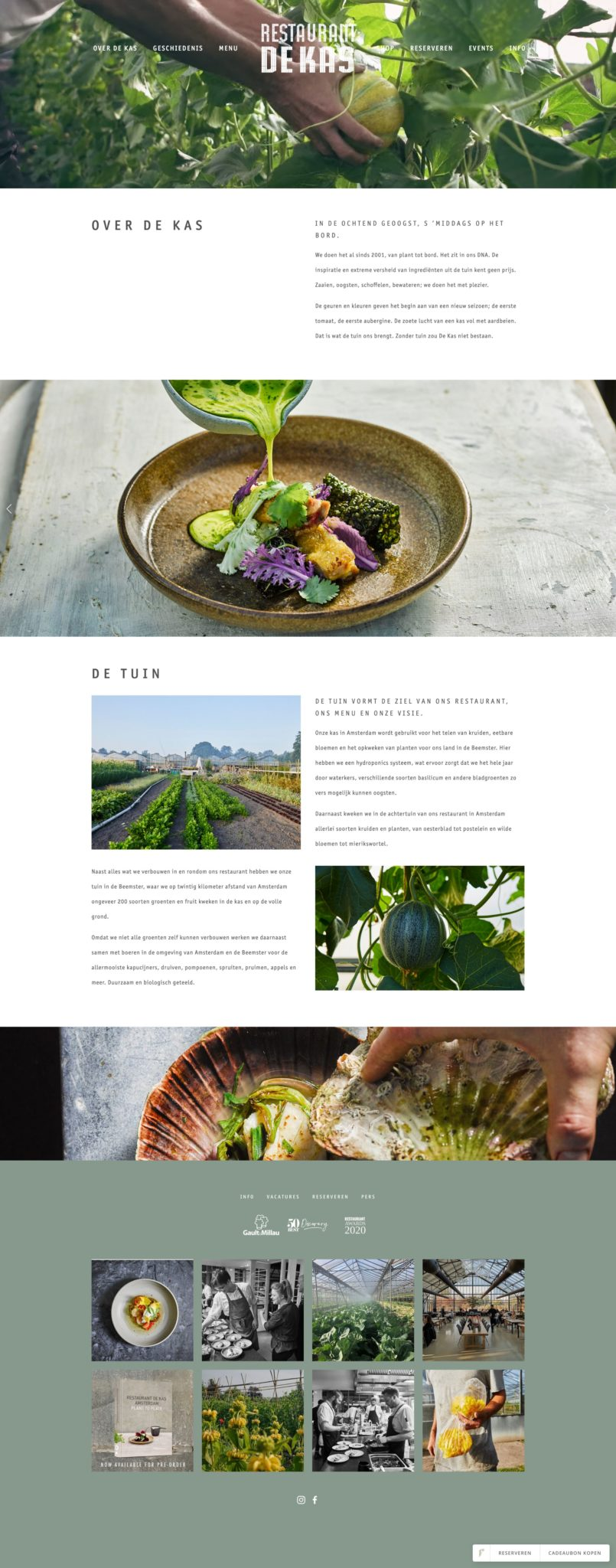 Restaurant De Kas Amsterdam Webdesign Idea July 2020