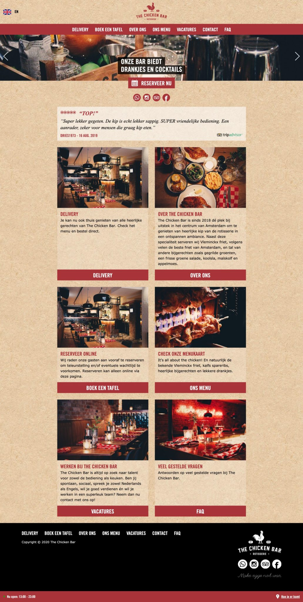 The Chicken Bar Website Design for Restaurant Inspiration July 2020