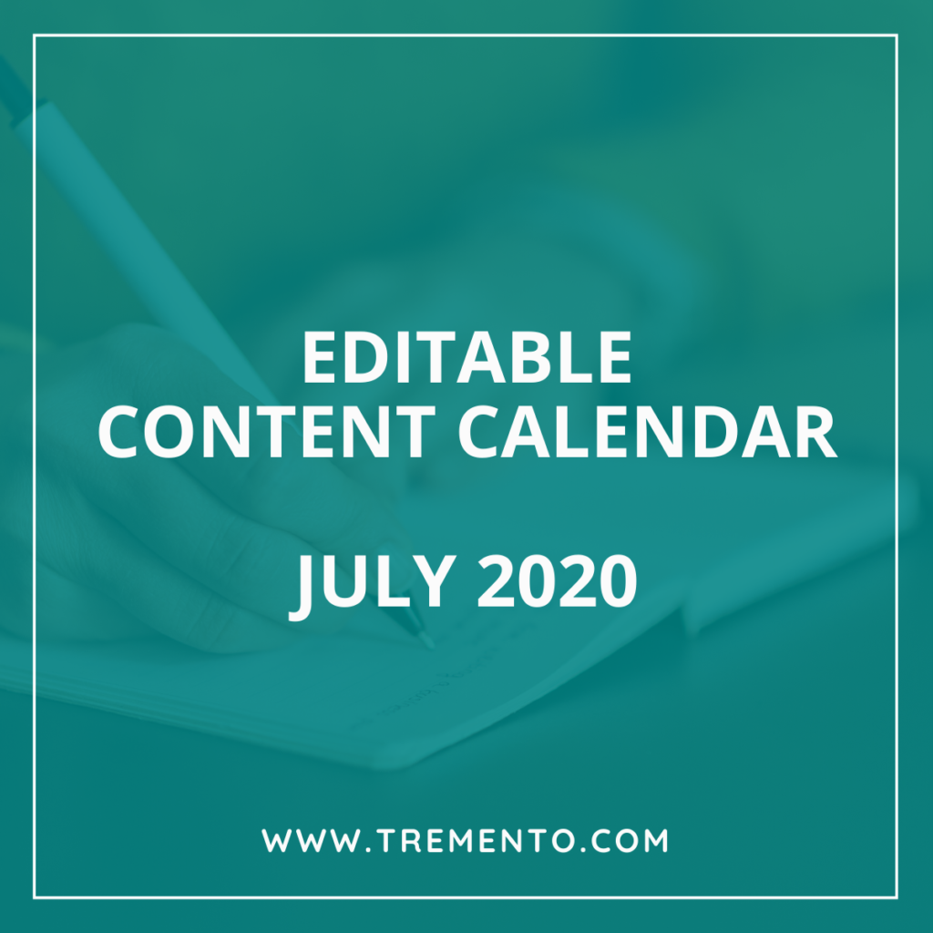 Editable Content Calendar Hospitality July 2020