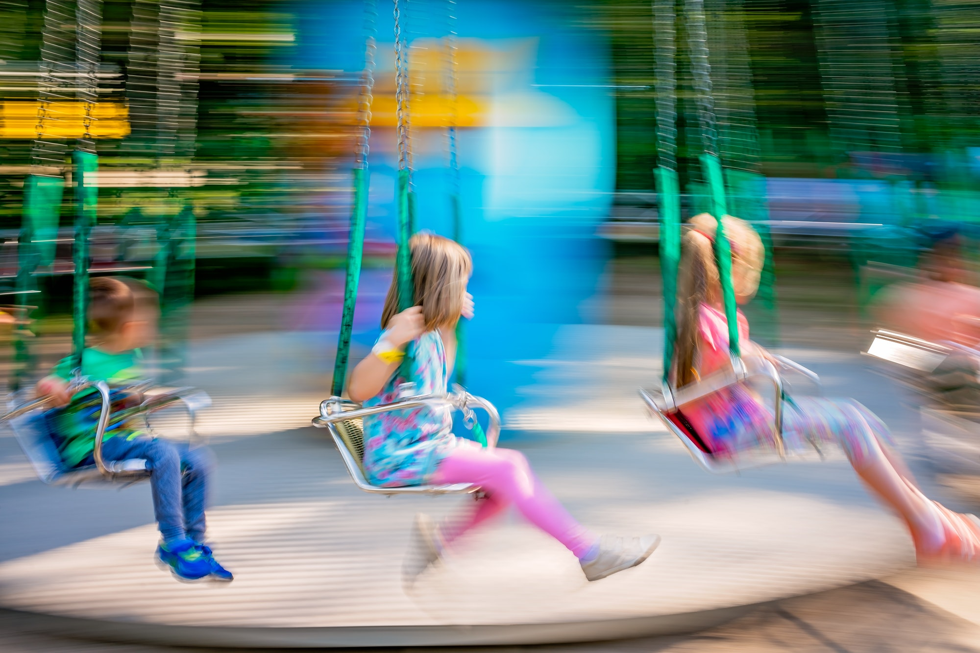 Children on a carousel