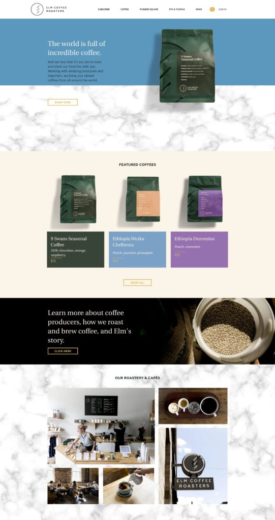 Coffee Shop Web Design Inspiration - Elm Coffee Roasters