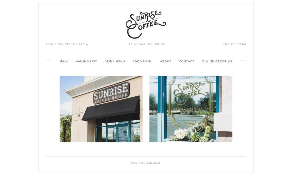 Coffee Shop Web Design Inspiration - Sunrise Coffee Las Vegas
