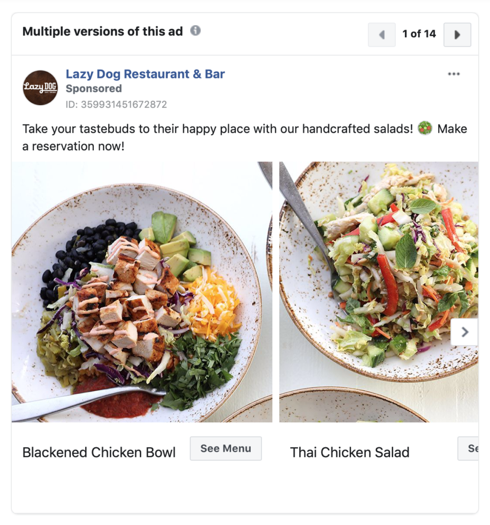 Facebook Restaurant Ads Inspiration