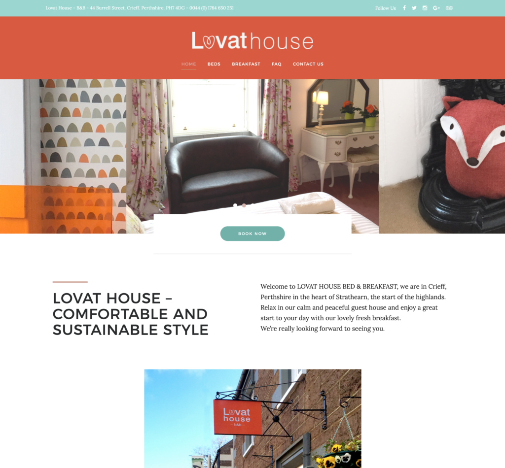 Lovathouse BnB website design