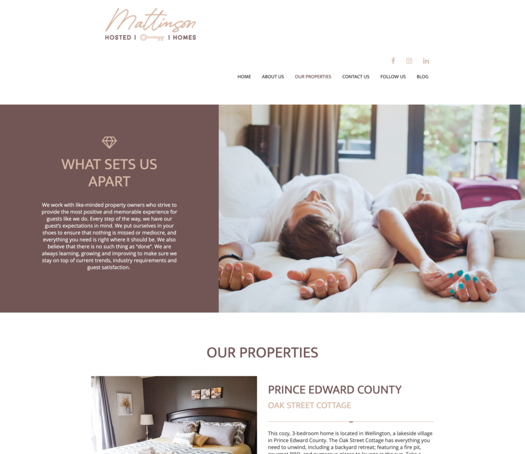 Mattison Hosted Homes AirBnB website design
