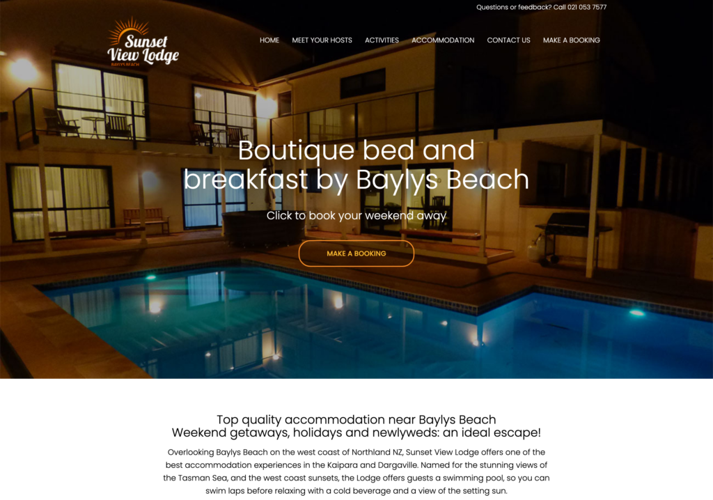 Make airbnb website - Sunsetview Lodge - BnB Website Design