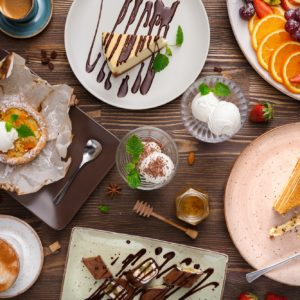 Different desserts with fruits