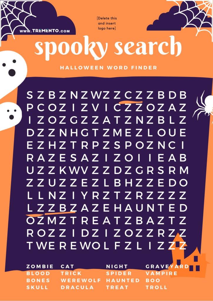 Halloween Word Search - Restaurant Halloween Ideas