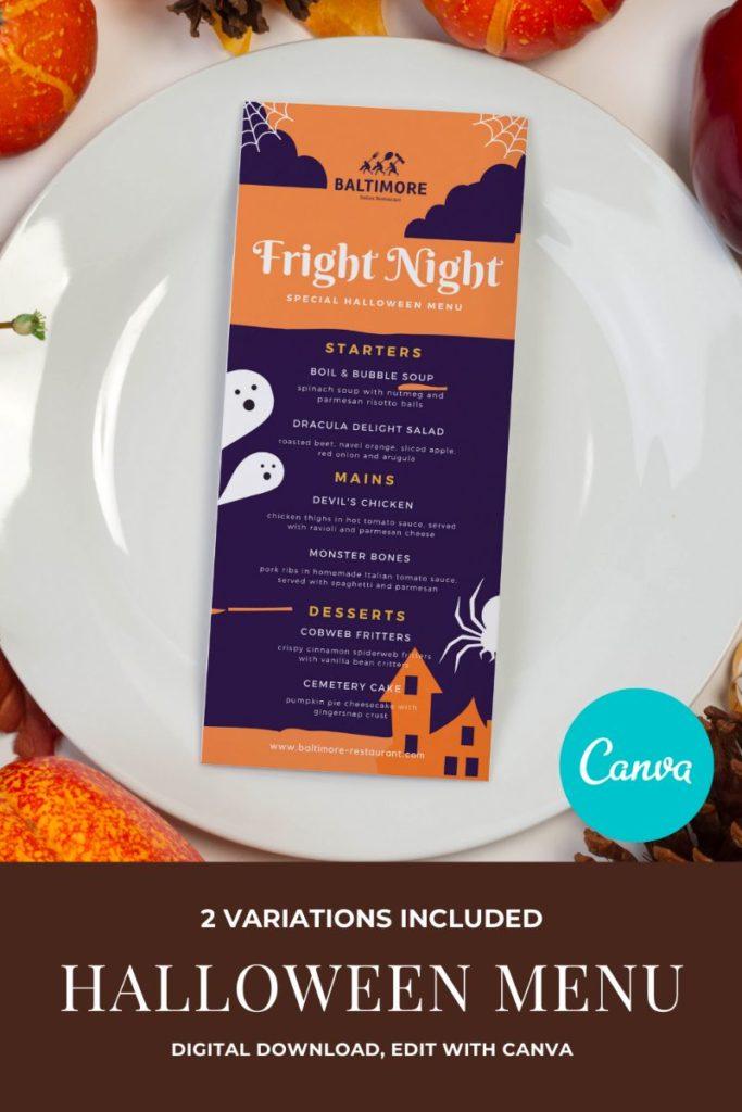 Halloween Restaurant Menu Template