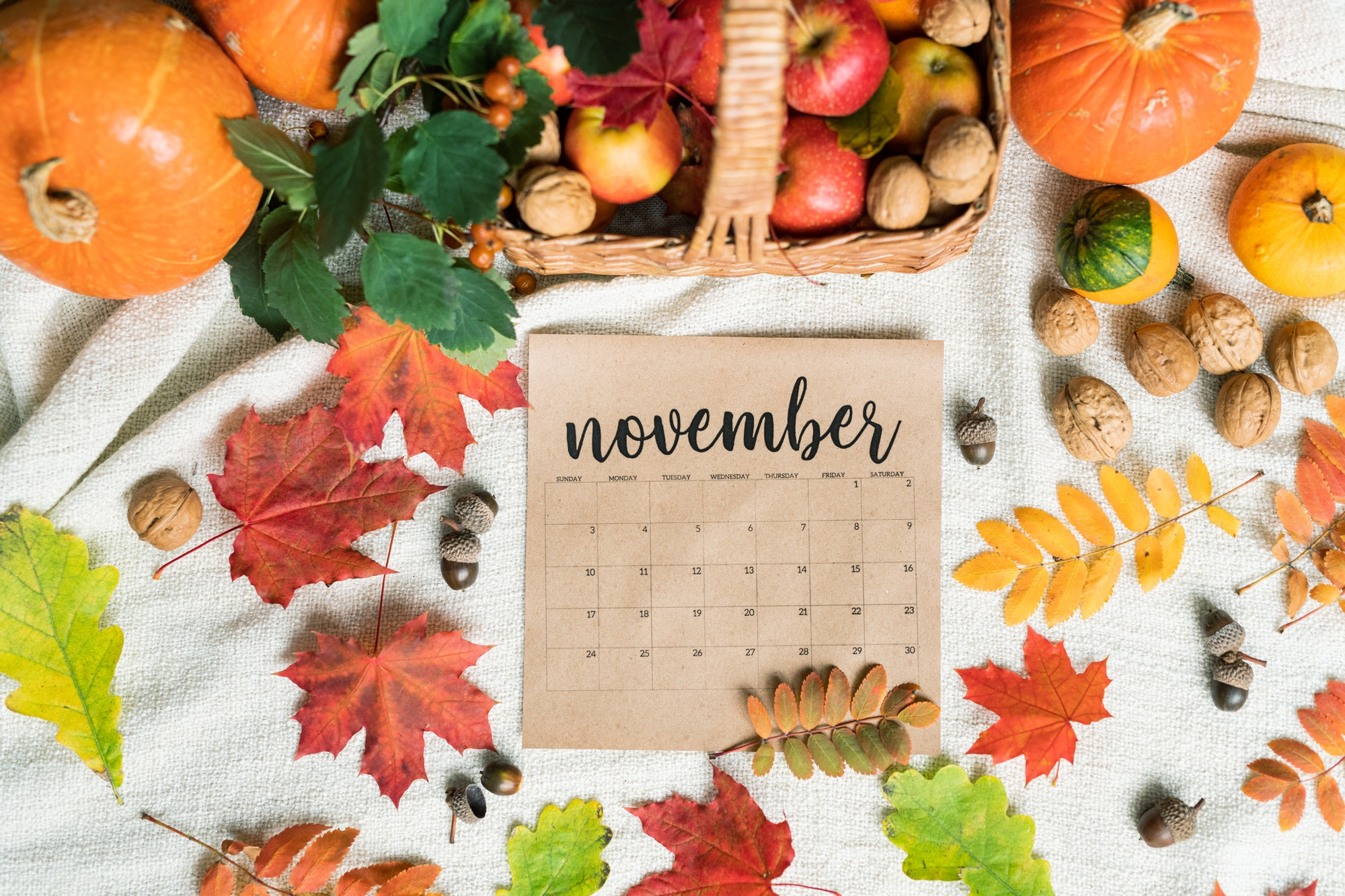 Top view of November calendar surrounded by harvest and autumn leaves
