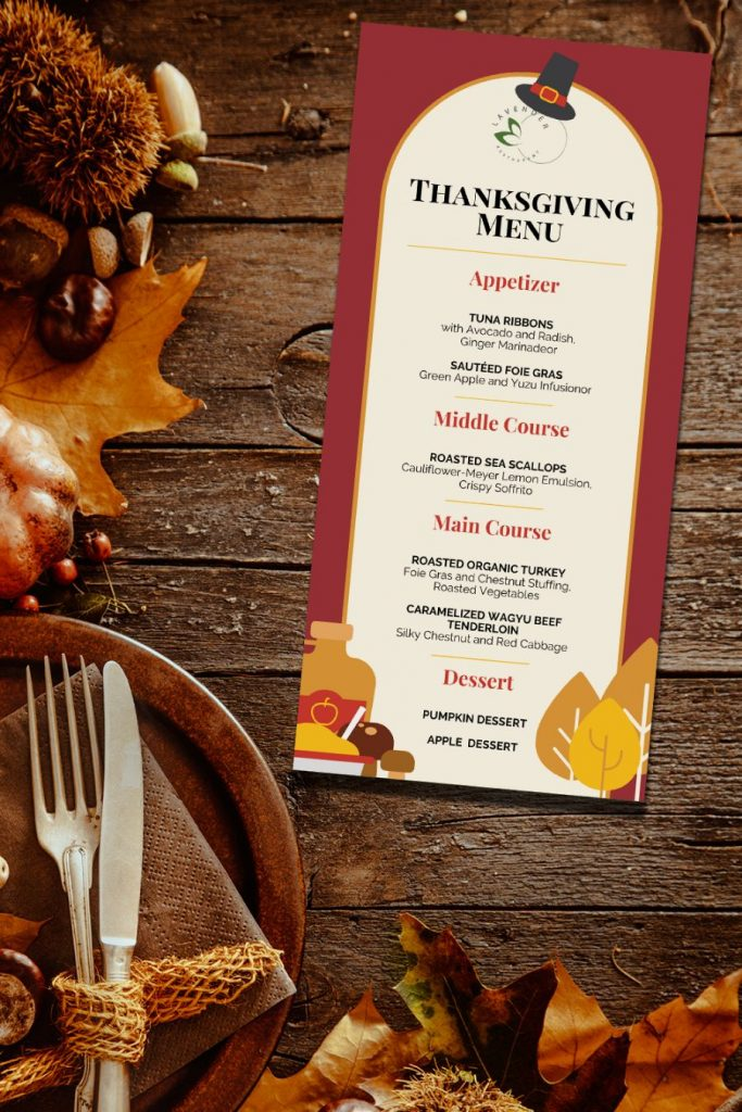 Template for Thanksgiving Menu 4