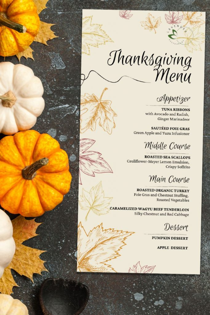Template for Thanksgiving Menu 1