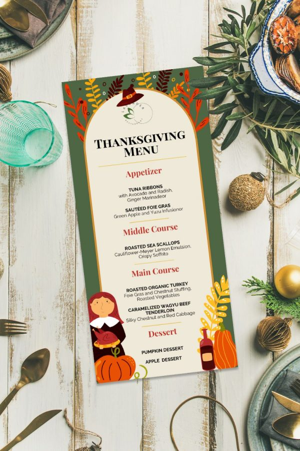 Template for Thanksgiving Menu 2