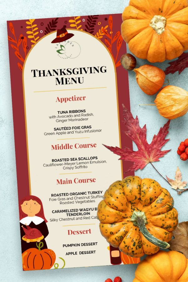 Template for Thanksgiving Menu 3