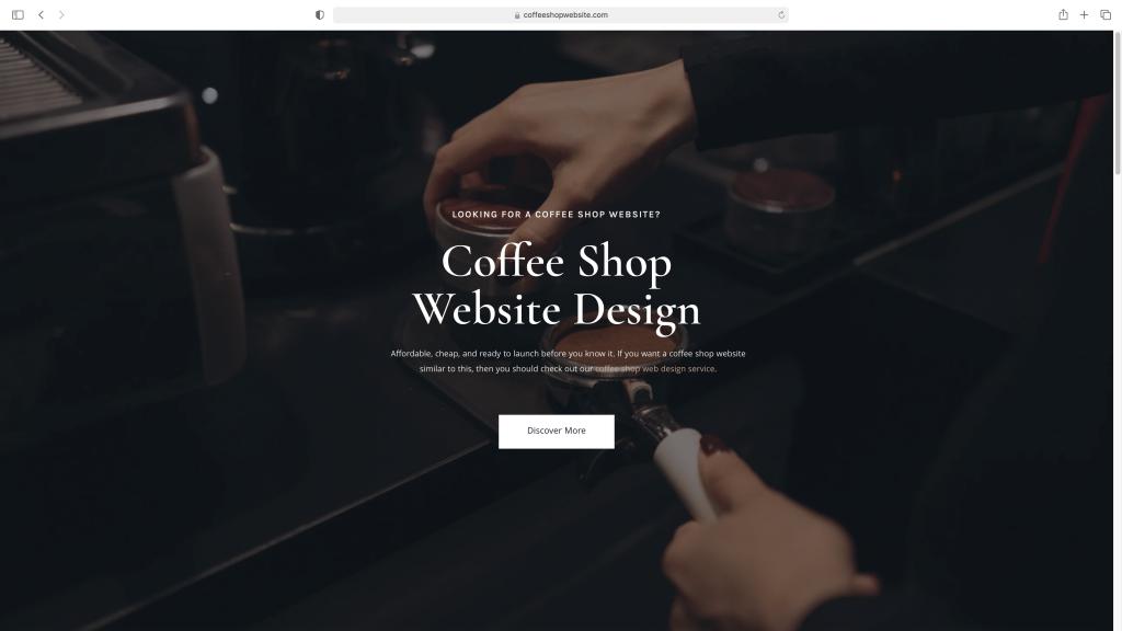 Coffee shop website homepage