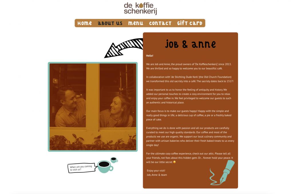 Coffee Shop Website from de Koffieschenkerij in Amsterdam
