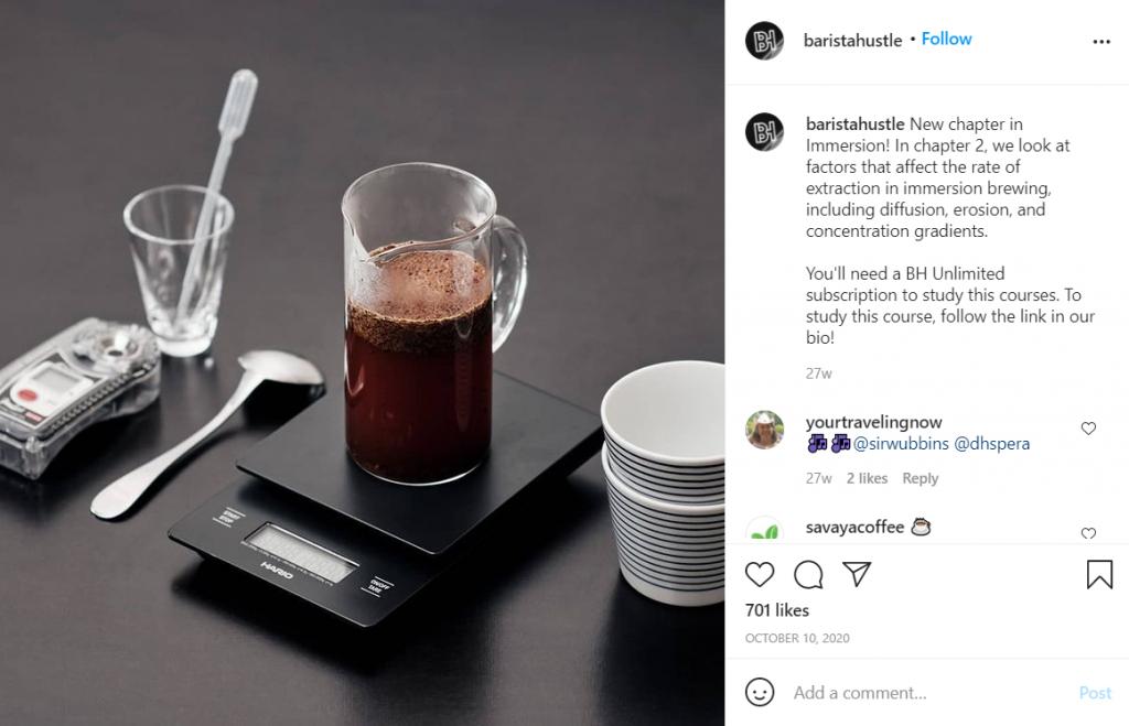 Barista Hustle coffee shop instagram