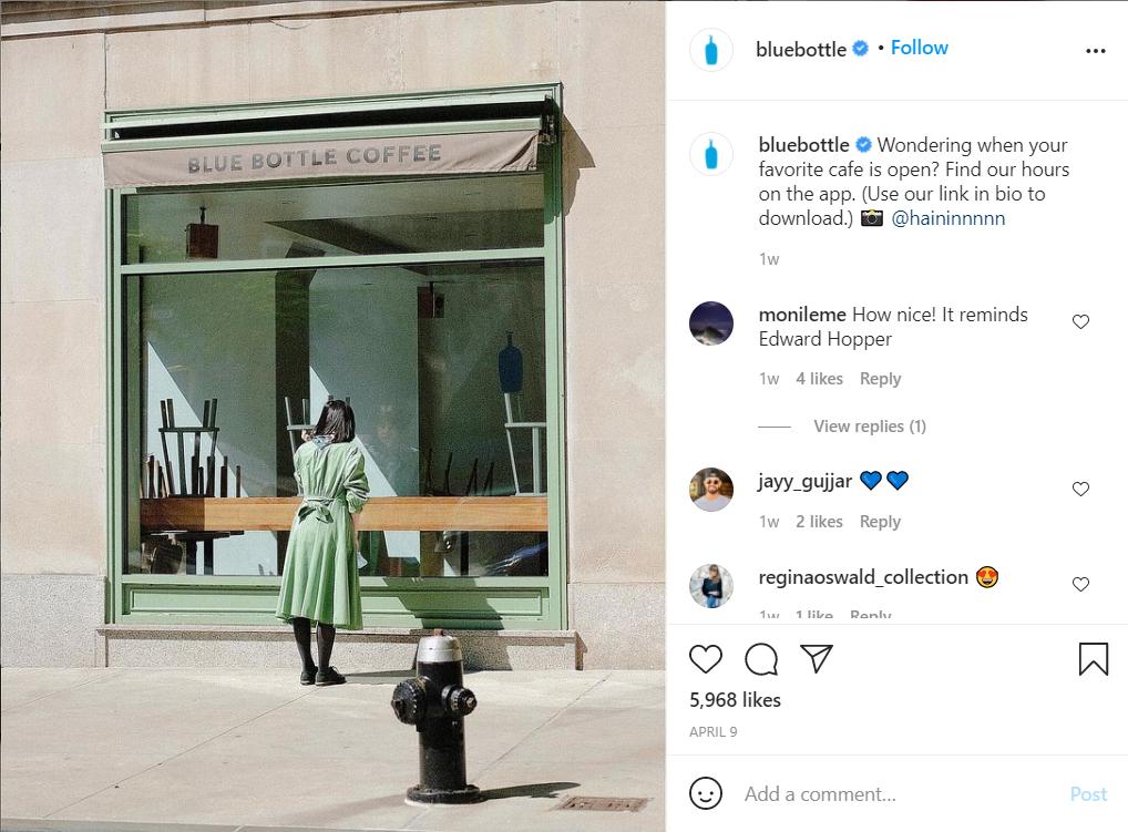 Blue Bottle Coffee shop instagram