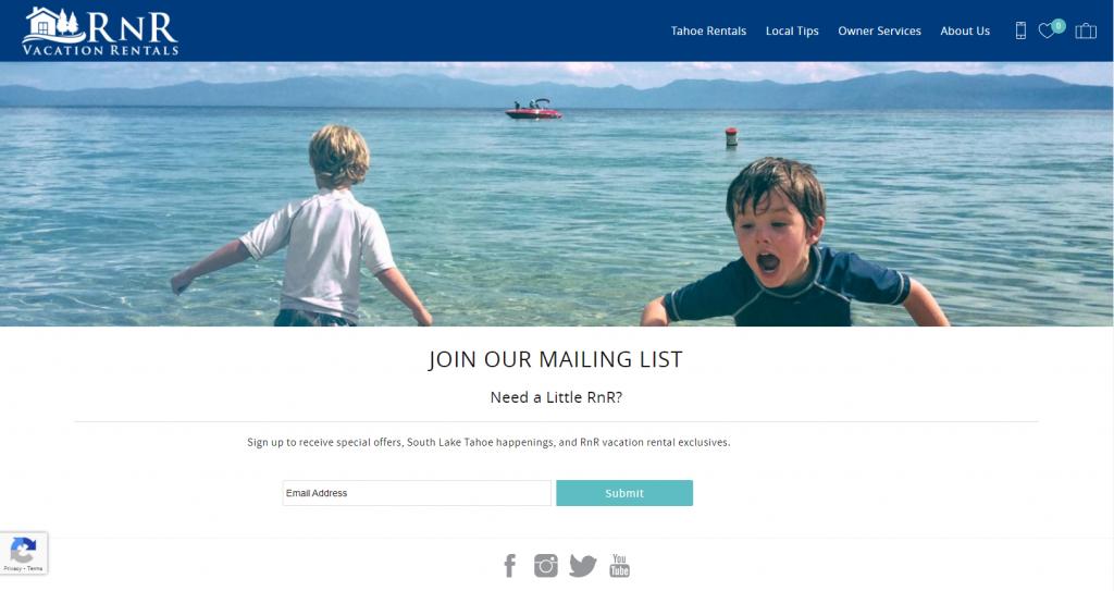 RnR Vacation Rentals Mailing List subscription