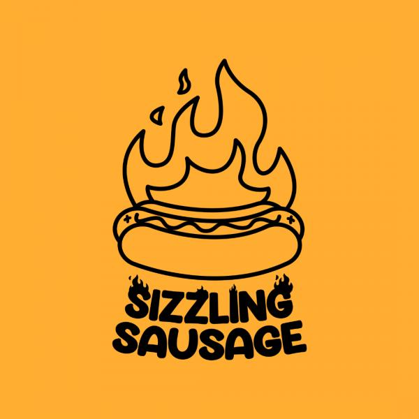 Creative Fire Hotdog Shop Logo - Sizzling Sausage