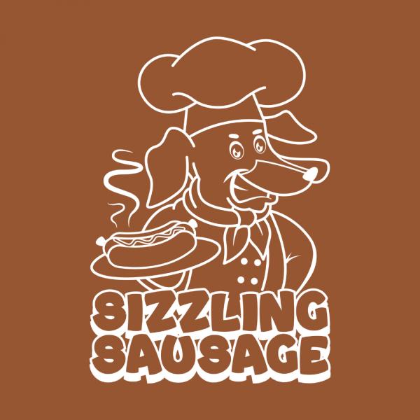 Funny Hotdog Cartoon Logo - Sizzling Sausage