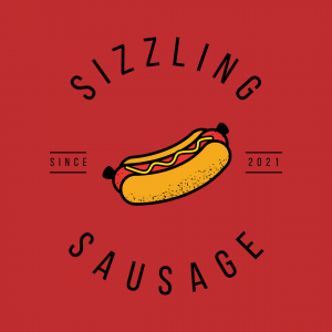 Minimal Hotdog Logo - Sizzling Sausage