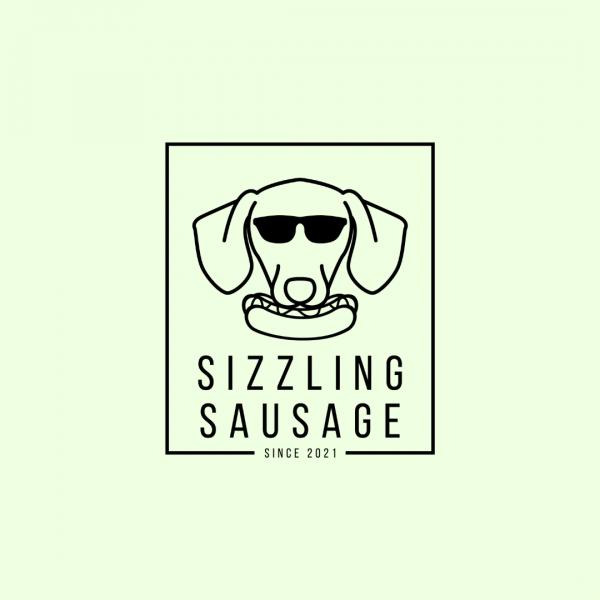 Awesome Sausage Dog Cartoon Logo - Sizzling Sausage