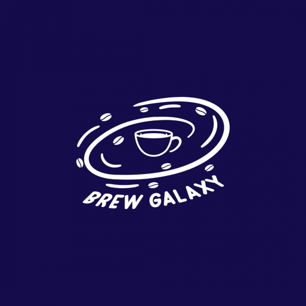 Coffee Shop Logo Brew Galaxy White