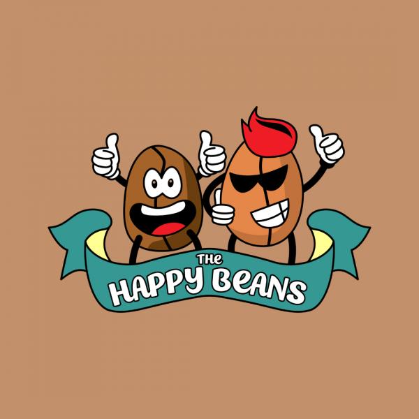 Funny Coffee Shop Logo - Happy Beans