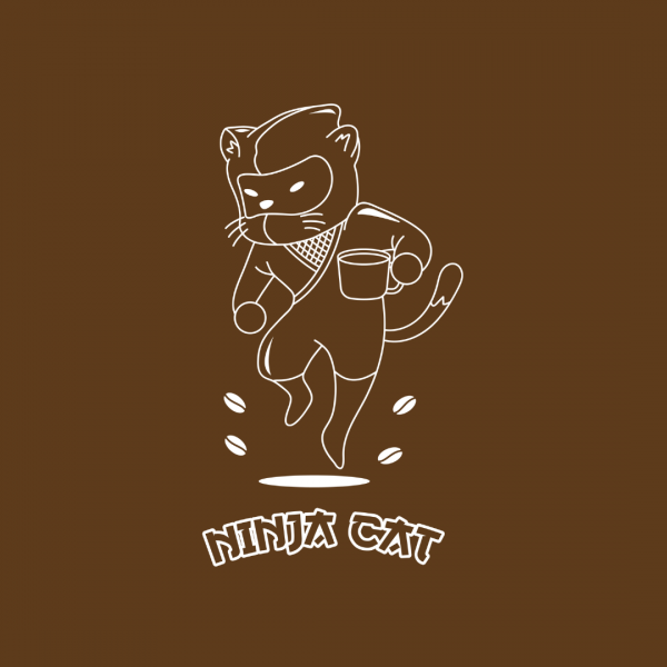 Crazy Coffee Shop Logo - Ninja Cat