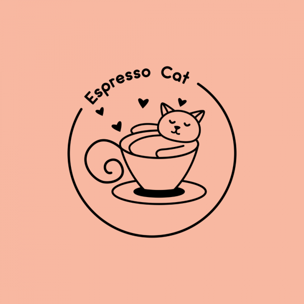 Adorable Coffee Shop Logo - Espresso Cat